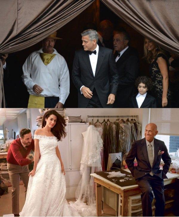 Clooney à epera da noiva e prova do vestido.